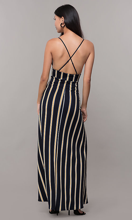 Image of striped high-low empire-waist wedding guest dress. Style: CL-46953 Back Image