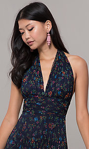 Image of floral-print pleated short navy wedding-guest dress. Style: CL-7603P Detail Image 1