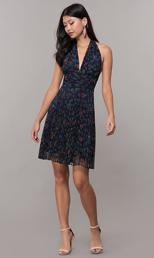 Image of floral-print pleated short navy wedding-guest dress. Style: CL-7603P Detail Image 3