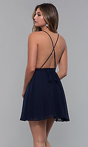 Image of open-back lace-trimmed short holiday party dress. Style: LUX-LD5170 Back Image