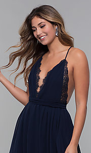 Image of open-back lace-trimmed short holiday party dress. Style: LUX-LD5170 Detail Image 1