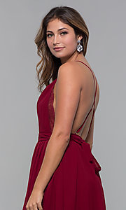 Image of open-back lace-trimmed short holiday party dress. Style: LUX-LD5170 Detail Image 8