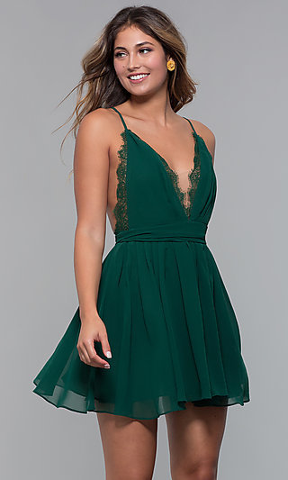 Open-Back Lace-Trimmed Short Holiday Party Dress