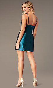 Image of short v-neck holiday party dress with pockets. Style: LUX-LD5088 Detail Image 6