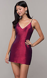 Image of short v-neck holiday party dress with pockets. Style: LUX-LD5088 Front Image
