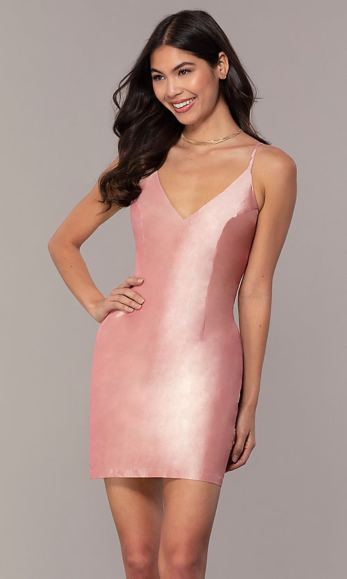 Image of short v-neck holiday party dress with pockets. Style: LUX-LD5088 Detail Image 3