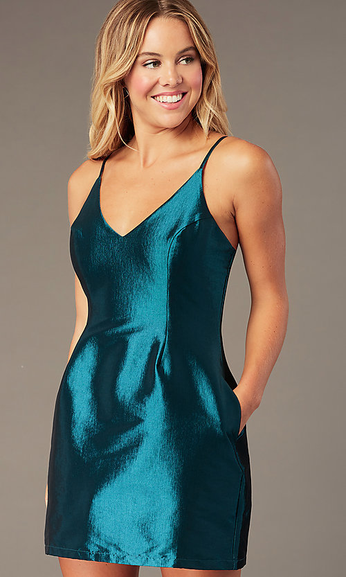 Image of short v-neck holiday party dress with pockets. Style: LUX-LD5088 Detail Image 5