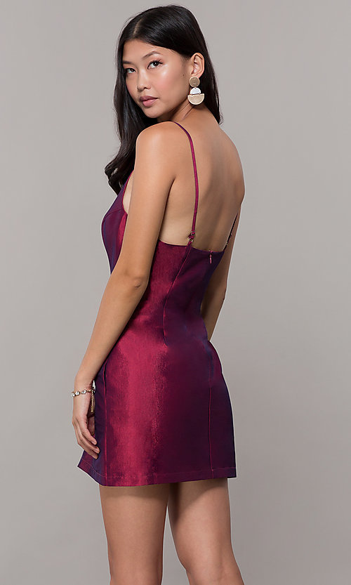 Image of short v-neck holiday party dress with pockets. Style: LUX-LD5088 Back Image