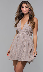 Image of glitter-lamé short v-neck mauve party dress. Style: LUX-LD5181 Front Image