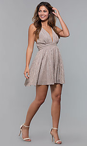 Image of glitter-lamé short v-neck mauve party dress. Style: LUX-LD5181 Detail Image 3