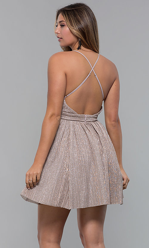 Image of glitter-lamé short v-neck mauve party dress. Style: LUX-LD5181 Back Image