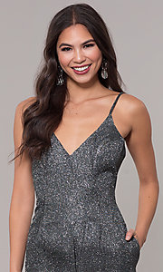 Image of holiday v-neck black and silver glitter party dress Style: LUX-LD5223 Detail Image 1