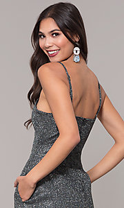 Image of holiday v-neck black and silver glitter party dress Style: LUX-LD5223 Detail Image 2