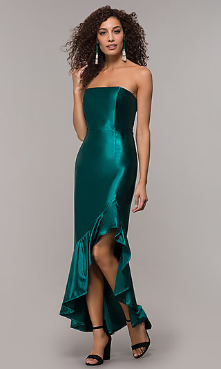 High-Low Formal Party Strapless Dress