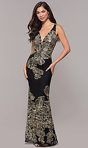 Image of long v-neck formal dress with metallic embroidery. Style: SOI-M17393 Front Image