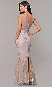 Image of long v-neck formal dress with metallic embroidery. Style: SOI-M17393 Back Image