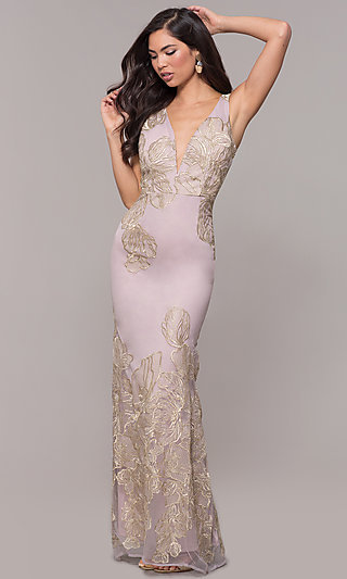 Long V-Neck Formal Dress with Metallic Embroidery
