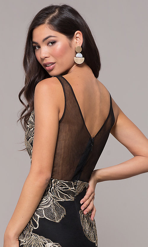 Image of long v-neck formal dress with metallic embroidery. Style: SOI-M17393 Detail Image 2