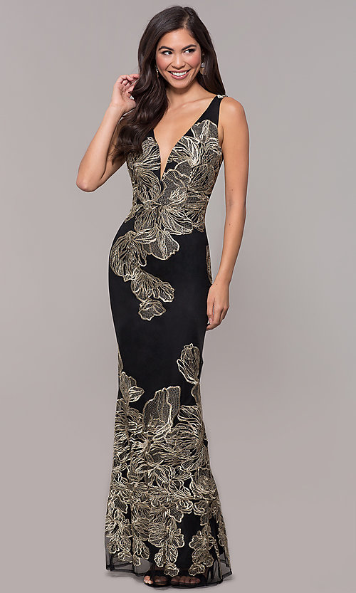 Image of long v-neck formal dress with metallic embroidery. Style: SOI-M17393 Detail Image 3