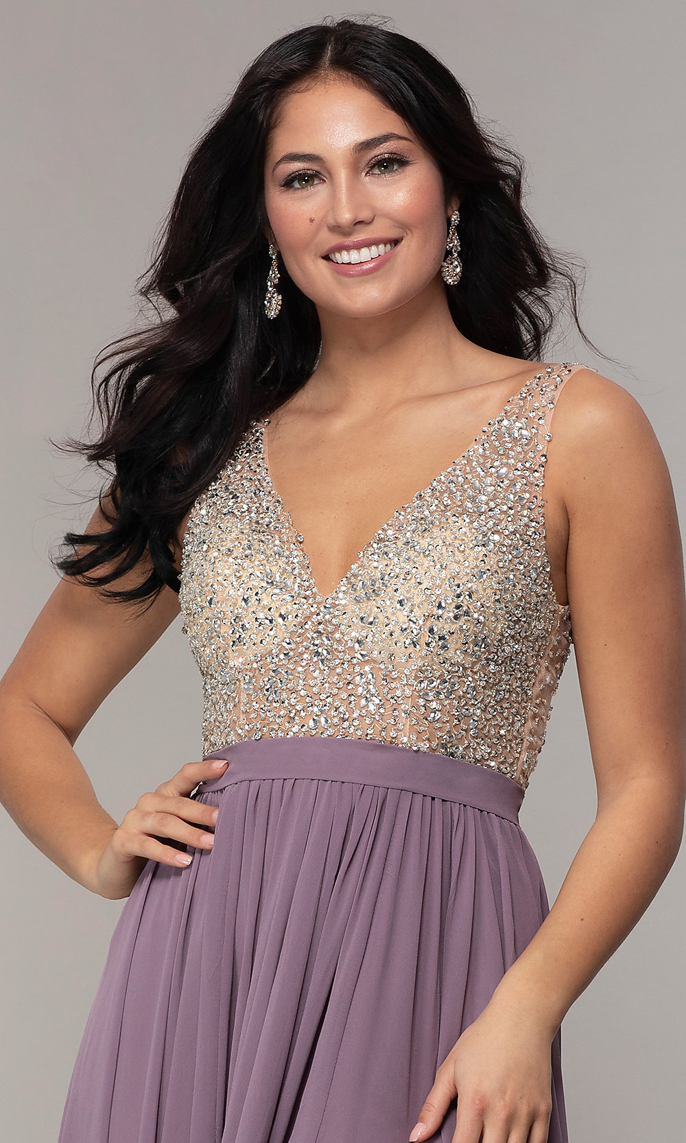 212c0986888 ... chiffon v-neck embellished-bodice prom dress. Style  SOI. Tap to expand