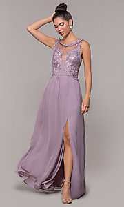 Image of long side-slit lace-applique-bodice formal dress. Style: SOI-M18124 Front Image