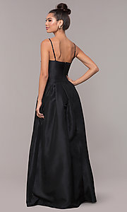 Image of embroidered-bodice long black taffeta formal dress. Style: SOI-M18466 Back Image