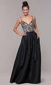 Image of embroidered-bodice long black taffeta formal dress. Style: SOI-M18466 Detail Image 3