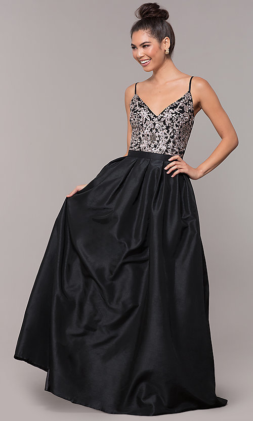 Image of embroidered-bodice long black taffeta formal dress. Style: SOI-M18466 Front Image