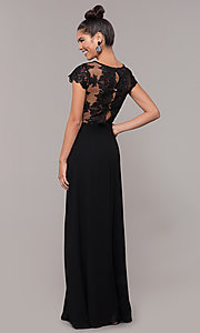 Image of v-neck long faux-wrap prom dress with embroidery. Style: SOI-M18209 Detail Image 7