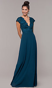 Image of v-neck long faux-wrap prom dress with embroidery. Style: SOI-M18209 Back Image