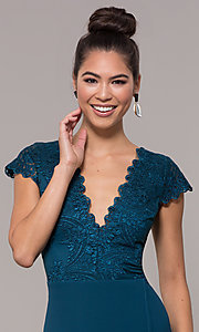 Image of v-neck long faux-wrap prom dress with embroidery. Style: SOI-M18209 Detail Image 1