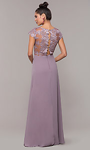 Image of v-neck long faux-wrap prom dress with embroidery. Style: SOI-M18209 Detail Image 3