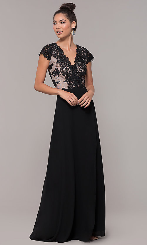 Image of v-neck long faux-wrap prom dress with embroidery. Style: SOI-M18209 Detail Image 6