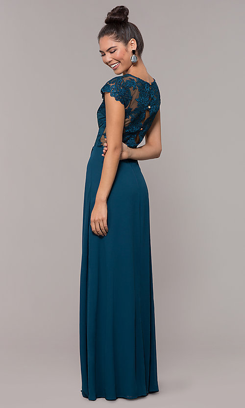 Image of v-neck long faux-wrap prom dress with embroidery. Style: SOI-M18209 Front Image