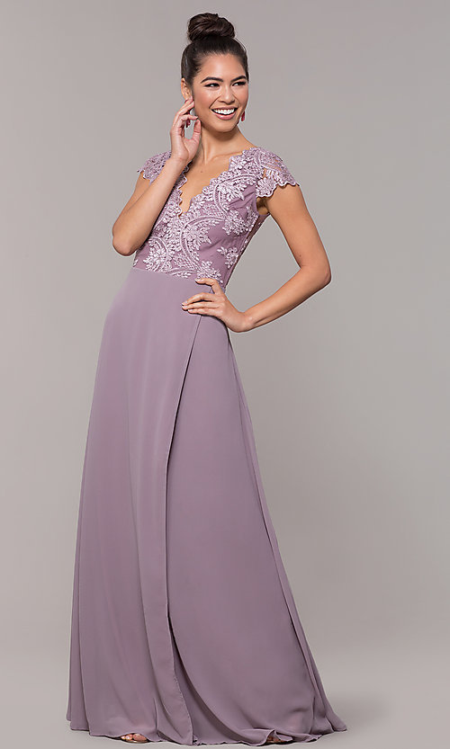 Image of v-neck long faux-wrap prom dress with embroidery. Style: SOI-M18209 Detail Image 2