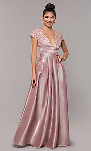 Image of v-neck long mauve embroidered-bodice prom dress. Style: SOI-M18120 Front Image