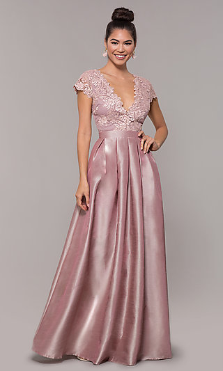 V-Neck Long Mauve Embroidered-Bodice Prom Dress