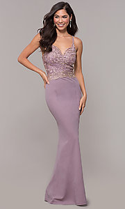 Image of sweetheart embroidered-bodice long prom dress. Style: SOI-M18076 Detail Image 4
