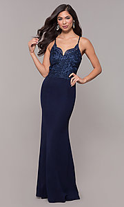 Image of sweetheart embroidered-bodice long prom dress. Style: SOI-M18076 Back Image