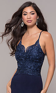 Image of sweetheart embroidered-bodice long prom dress. Style: SOI-M18076 Detail Image 1
