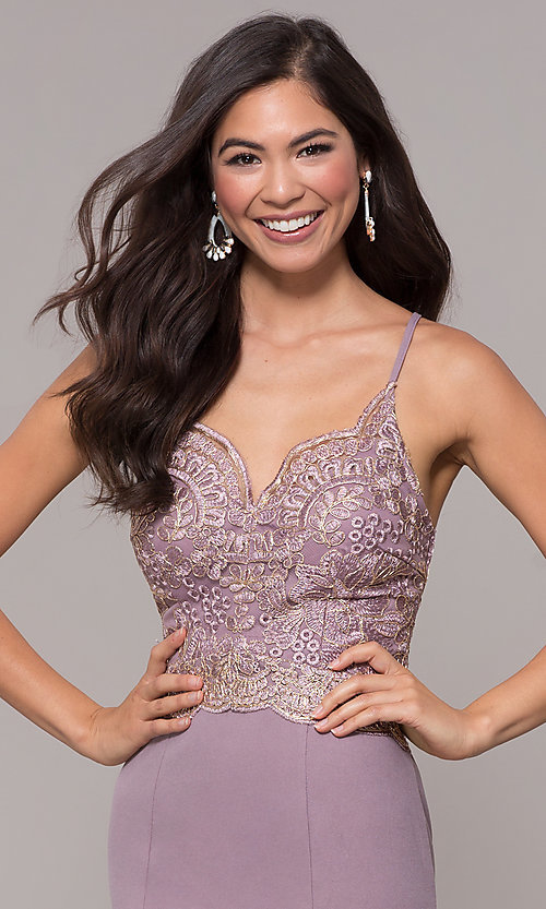 Image of sweetheart embroidered-bodice long prom dress. Style: SOI-M18076 Detail Image 6