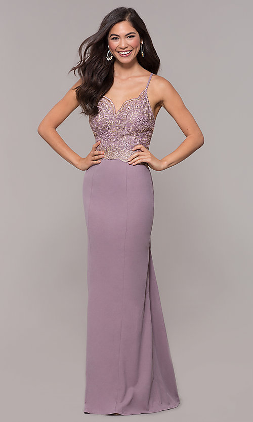 Image of sweetheart embroidered-bodice long prom dress. Style: SOI-M18076 Detail Image 8