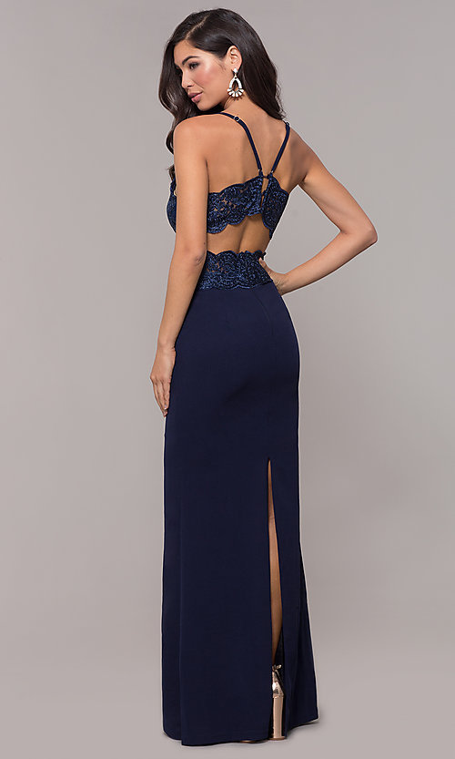 Image of sweetheart embroidered-bodice long prom dress. Style: SOI-M18076 Front Image
