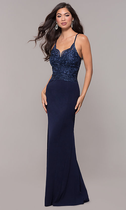 Image of sweetheart embroidered-bodice long prom dress. Style: SOI-M18076 Detail Image 3