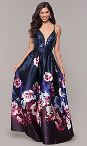 Image of sequin-bodice v-neck long floral-print prom dress. Style: SOI-M18163 Front Image