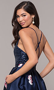 Image of sequin-bodice v-neck long floral-print prom dress. Style: SOI-M18163 Detail Image 2