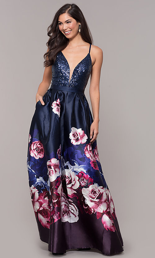 Image of sequin-bodice v-neck long floral-print prom dress. Style: SOI-M18163 Detail Image 3