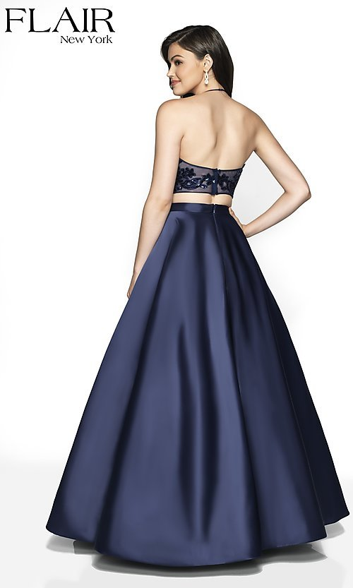 Image of long a-line high-neck halter formal gown by FLAIR. Style: BL-FL-19003 Back Image