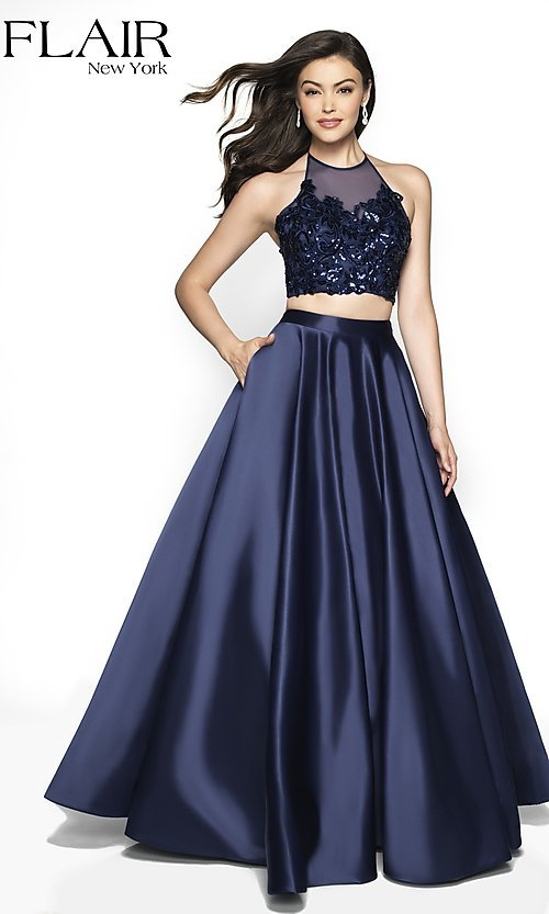 Image of long a-line high-neck halter formal gown by FLAIR. Style: BL-FL-19003 Front Image