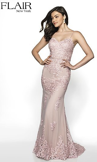 Long Embroidered FLAIR Formal Gown